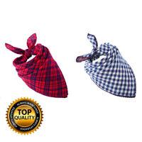 Pet Plaid Dog Bandana Scarf Tie Triangle Bibs Reversible Kerchief Accessories