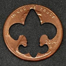 Lucky penny with fleur des lis cut out