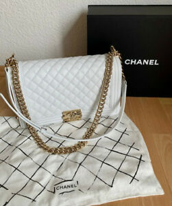 CHANEL large BOY handbag - white with GHW! Flawless !