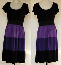 Tiana B. Black/Purple Tiered Color-block S/S Ballet-Neck Poly/Spandex Dress M