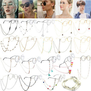 Fashion Eyeglass Chain Sunglasses Read Bead Glasses Holder Eyewear Rope Necklace