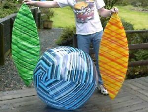 "LOT OF THREE 48"" Inflatable BESTWAY Transparent Stripe BEACH BALLS Vintage 2002"