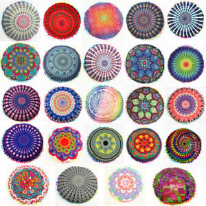 Indian Mandala Round Pillow Case Bohemian Meditation Floor Pouf Cushion Cover