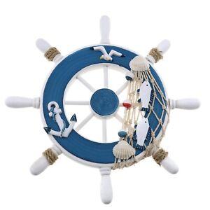 Wooden Nautical Steering Wheel Ship Beach Home Interior Decoration Style E