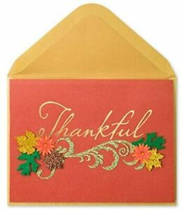 Papyrus Glitter & Gemmed Fall Flowers THANKFUL Thanksgiving Greeting Card
