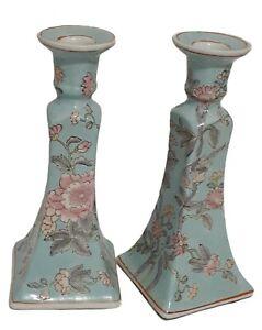 Vintage Chinoiserie Porcelain Bird Floral Candle Holders Pastel Aqua Blue