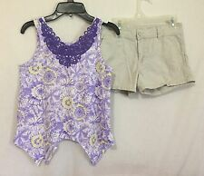 Girls 10/12 Lg Faded Glory khaki shorts purple tie dye assymetric tank top shirt