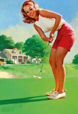 Golf Pin Up Girl Blechschild Metallschild Schild gewölbt Tin Sign 20 x 30 cm