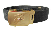 WW2 Style BLACK WEBBING BELT with US Army MARINE CORPS BUCKLE American Military