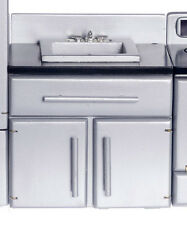 Dollhouse Miniature Stainless Look Sink, Black Counter, T5447