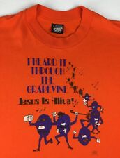 Vintage Mens L 80s 90s Christian Jesus Alive California Raisins Orange T-Shirt