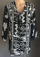Retro CIAO BELLA Grey Black White Tribal Print 3/4 Sleeve Top Size S 10/12