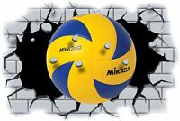Huge 3D Volley Ball Crashing through wall View Wall Sticker Mural Decal 110
