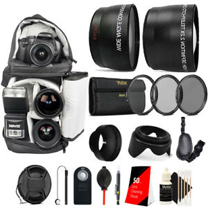 58mm Complete Accessory Kit for Canon EOS Rebel T6i T6 T7i  SL2 SL3 T100
