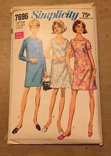 1968 Uncut Simplicity Pattern 7696 A Line Dress PLUS/HALF Size 24 1/2