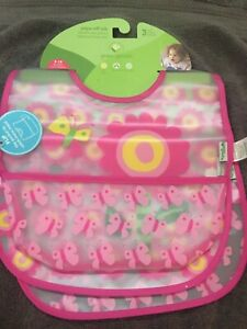Green Sprouts Snap & Go Easy Wear Baby Bibs (3 Pack) Pink butterfly