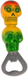 Flaschenöffner Kapselheber Bottle Opener Flaschen-Öffner Cannabis Totenkopf bunt