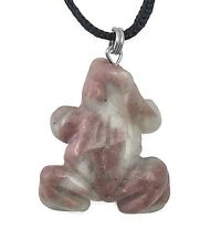 Frog Pendant Pink Rhodonite Gemstone Pendant Hand Carved Stone Necklace Jewelry