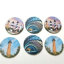 Lighthouse coasters with Rubber non slip backs 6 piece set