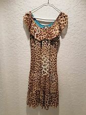 Bluemarine Multi-Color Animal Print Silk Chiffon Dress Size XS