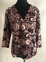 Zero 2 Nine Maternity Top Size XL NWT Floral Print Empire 3/4 Sleeves Polyester