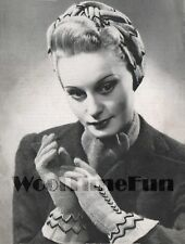 Knitting Pattern/Instructions To Make Vintage 1940s Lady's Turban & Gloves