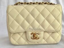 Authentic Chanel Beige Ivory Caviar Square Mini Flap Bag GHW