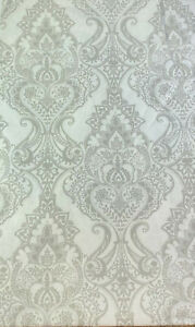Baroque Medallion Vinyl Tablecloths White and Gray Assorted Sizes