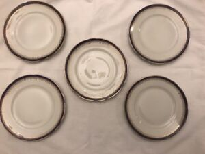 Set Of 5 Antique Soviet Russia Dmitrov Factory, Verbilki Bread And Butter Plates
