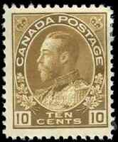 Canada #118 mint F-VF OG HR 1911 King George V 10c bistre brown Admiral
