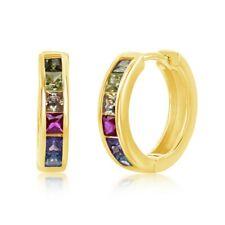 Plata De Ley Chapado en Oro Arco Iris Cubic Zirconia Aro pendientes