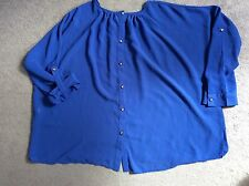 BRIGHT BLUE BLOUSE -GATHERED NECKLINE & GOLD BUTTONS WITH LONG SLEEVES -SIZE M