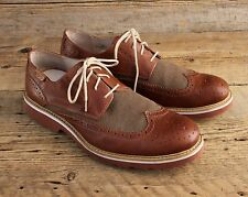 Picolinos Light Glasgow Brown Leather & Canvas Wingtip Shoes Size 45 11.5