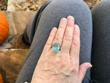 Natural Aquamarine Topaz Ring 925 Sterling Silver Women Big Jewelry Engagement
