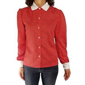 Vintage ladies blouse red white stripe koret tie neck secretary blouse retro 80s funkyndress shirt holiday Christmas