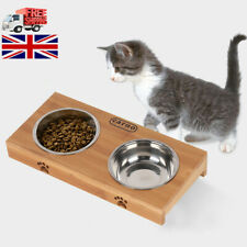 Dog Food Feeding Stand Station Stainless Pet Double Bowls Stand Cat Wooden