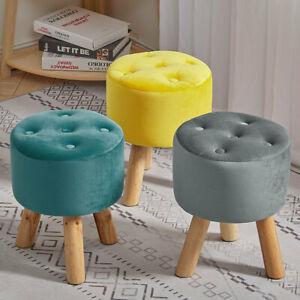 Velvet Round Footstool Wooden Legs Foot Rest Stool Living Room Pouffe Ottoman