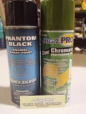Marpro Zinc Chromate Primer Aluminum & MERCRUISER Black Paint 2 Can Kit Aluminum