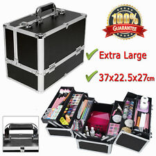 Extra Large Black Beauty Case Make Up Nail Tech Professional Cosmetic Vanity Box