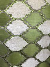APPLE GREEN IVORY DIAMOND CHENILLE UPHOLSTERY BROCADE FABRIC (54 in.) Sold BTY