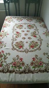 Vintage large German Bavarian style floral  patterned tablecloth