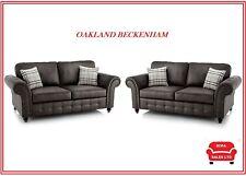 NEW SOFA OAKLAND Beckenham  3 + 2  + Arm chair FAUX LEATHER *TAN or BLACK*