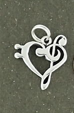 Music Note Clef Heart Charm Sterling Silver Pendant