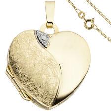 Medallón colgante corazón 2 Fotos Oro Amarillo de 333 + COLLAR 50cm medalion