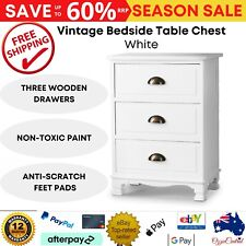 Artiss Vintage Bedside 3 Drawers Table, White - ST-CAB-B-3D-WH