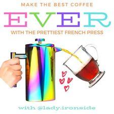 Iridescent Rainbow Stainless Steel French Press Coffee Maker Tea Pot, 34 oz/ 1 L