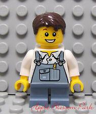 NEW Lego FARM BOY MINIFIG w/Sand Blue Bib Torso & Legs w/Brown Hair & Smile Head