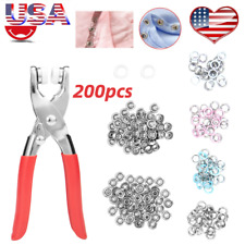 200pcs Prong Pliers Ring Press Studs Snap Popper Fasteners DIY Tool Kit