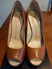 35556c10214 Giuseppe Zanotti Leather PEEP Toe Platform Pump Tan Brown Koka Size 9