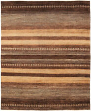 8X10 Hand-Knotted Gabbeh Carpet Tribal Brown Fine Wool Area Rug D36882